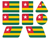 set of buttons with flag of Togo