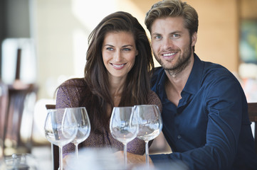 Couple enjoying drinks in a restaurant