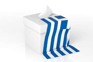 Ballot box with the flag of Greece