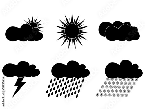 set of black icons with images of weather