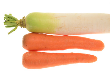 Radish And Carrots Isolated On White Background
