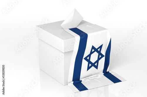Ballot box with the flag of Israel