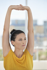 Close-up of a woman exercising in a gym