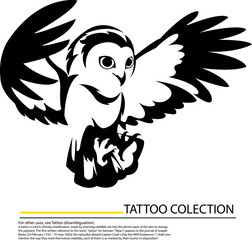 Illlustration of an owl flying symbol,tattoo design