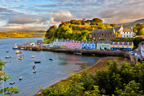 canvas print picture view on Portree, Isle of Skye, Scotland