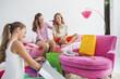 Girls enjoying good time at a slumber party