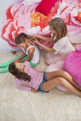 Girls enjoying good time at a slumber party