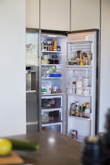 Assorted food in a refrigerator