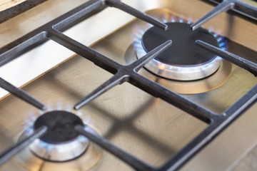 Close-up of a gas stove burner