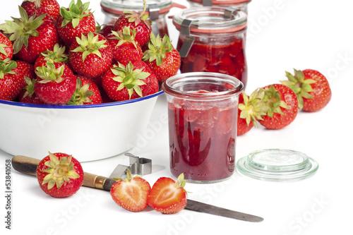 Selbstgemachte Erdbeer Marmelade
