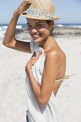Beautiful woman posing on the beach