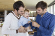 Parents with their son at home