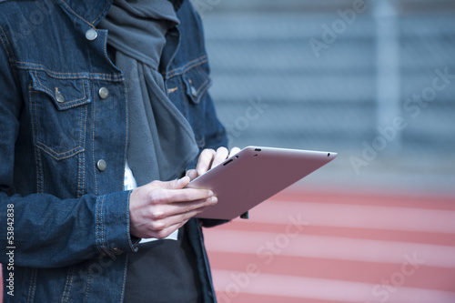 outdoor with a tablet