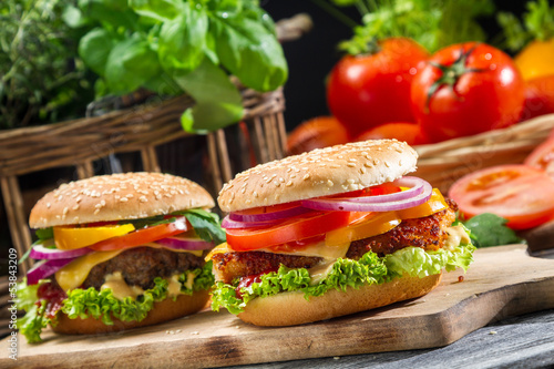 Fototapety, obrazy : Closeup of two homemade hamburgers made from fresh vegetables