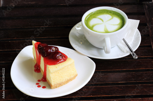 Strawberry cheese cake and Latte greentea
