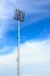 big spotlight tower at sport arena stadium