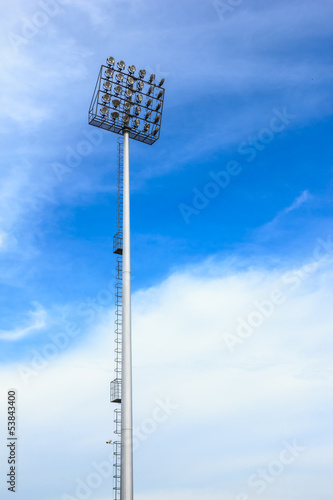 big spotlight tower at sport arena stadium