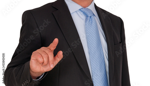 Man with Touchscreen - white background