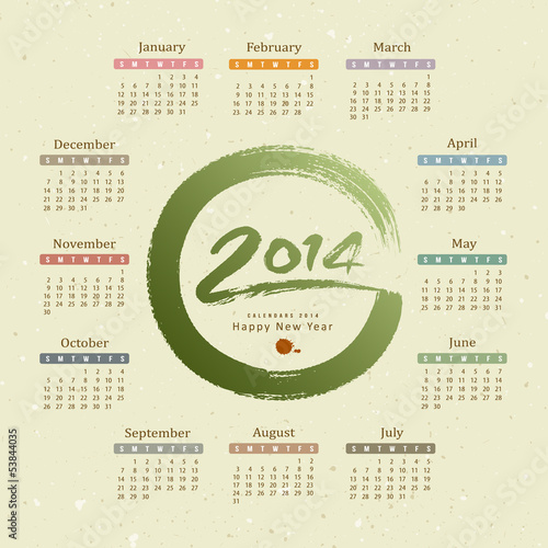 Calendar 2014 text circle paint brush  recycle paper background