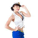 Young beautiful sexy girl dressed as sailor