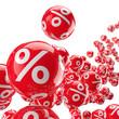 Rollende Bälle mit Prozenten / 3D-Illustration