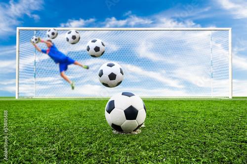 soccer ball line to goal