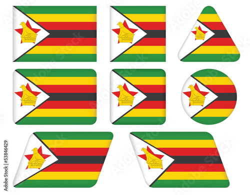 set of buttons with flag of Zimbabwe