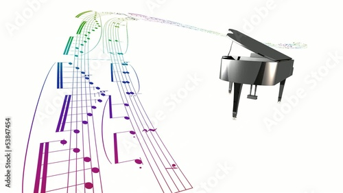 Dancing grand piano and scrolling music partition sheet