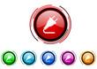 plug vector glossy web icon set
