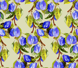 Plums Seamless Pattern