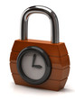 Orange padlock with clock. Concept of opening hours