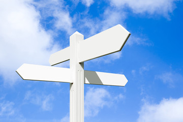 Blank signpost at a crossroads