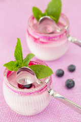 Two round glasses of yogurt dessert on pink background, with spo