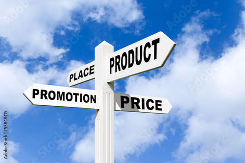 4 P's of marketing on a signpost in the sky