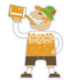 man drinking a lot of beer.Vector oktoberfest illustration isola