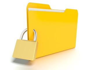 Security lock in front a Folder