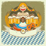 Vintage oktoberfest symbol label with girl and beer on old paper