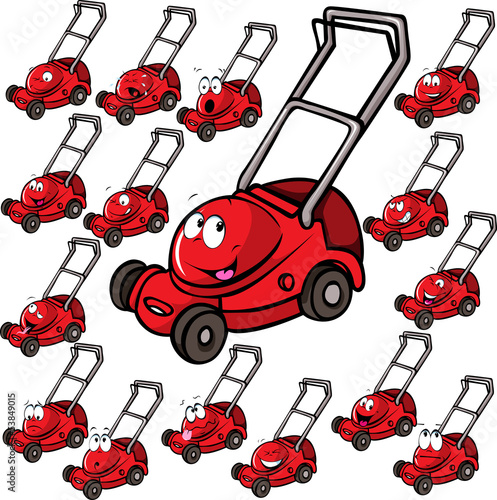 Illustration of lawn mower with face - 53849015