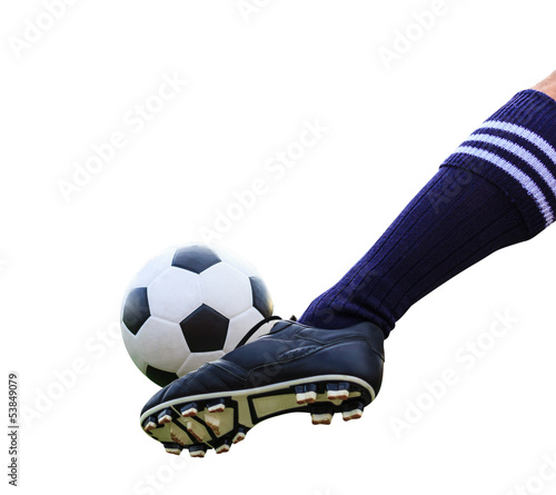 foot kicking soccer ball isolated with clipping path