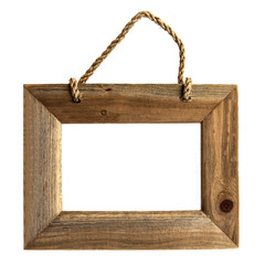 Rough Grain Wooden Picture Frame - Isolated.