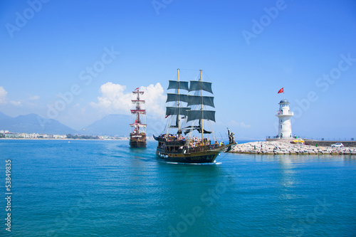 Tourists enjoying sea journey on vintage sailships in Alanya, Tu
