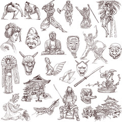 Japan - Full sized hand drawn illustrations on white