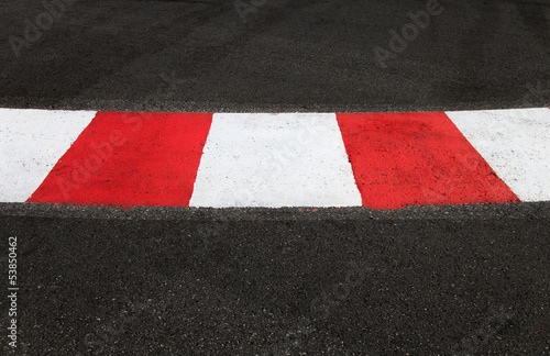 Texture of race asphalt and curb on Grand Prix circuit