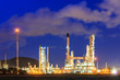 Oil refinery plant at dusk