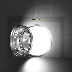 Light through a door of the bank safe (vault). The steel version