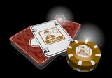 3d graphic of a exclusive idea icon  on poker cards