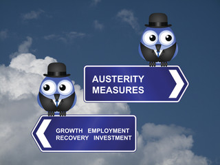 Government austerity measures signs