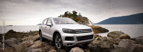 luxury 4x4 in natural landscape 3d illustration
