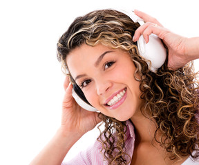 Happy woman with headphones