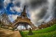 Paris. Beautiful wide angle view of Eiffel Tower in winter seaso